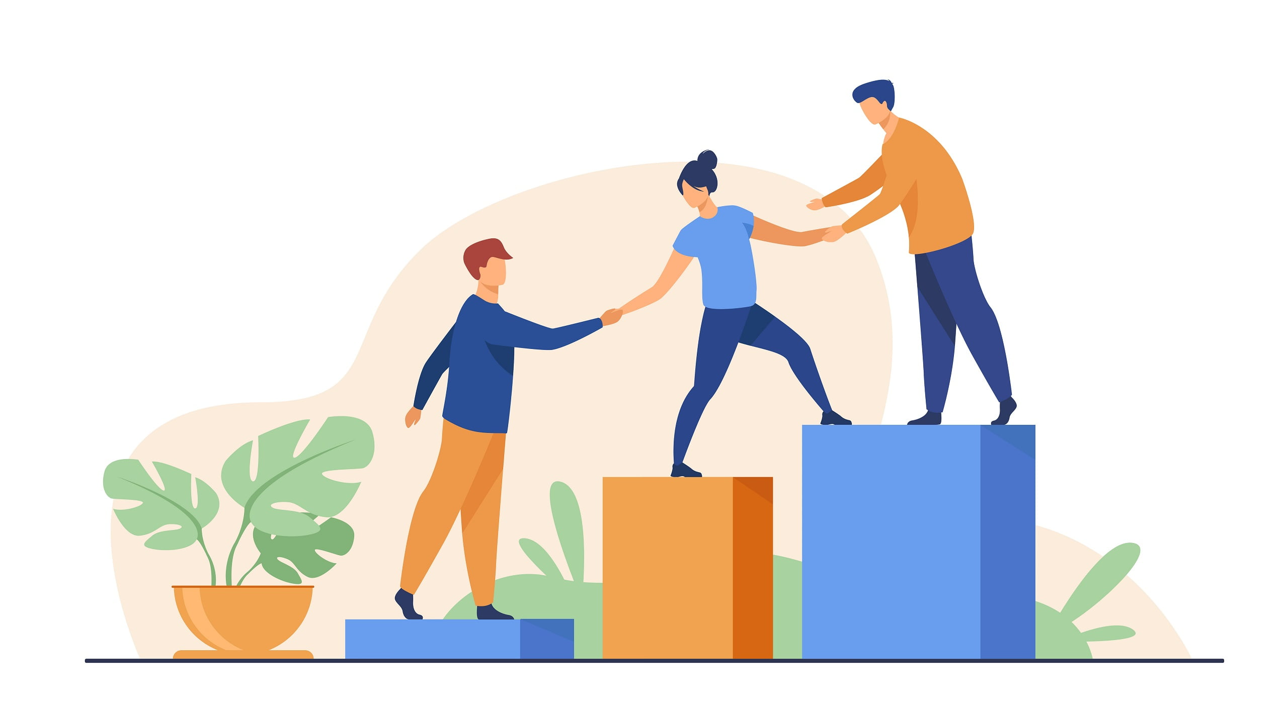 Employees giving hands and helping colleagues towalk upstairs. Team giving support, growing together. Vector illustration for teamwork, mentorship, cooperation concept
