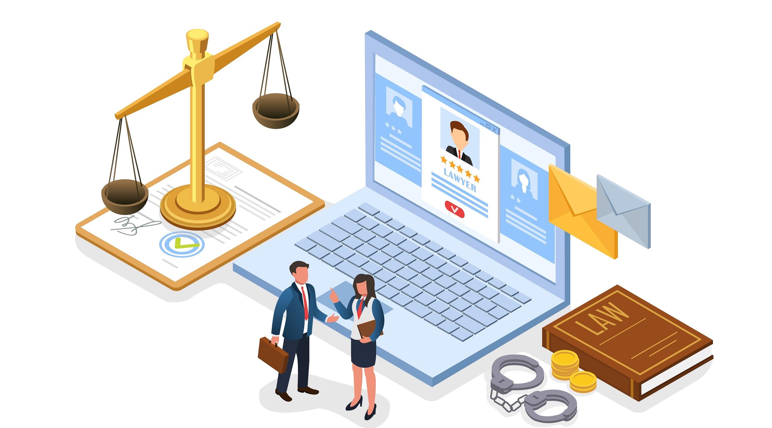 Flyer Choosing Successful Lawyer Isometric Flat.